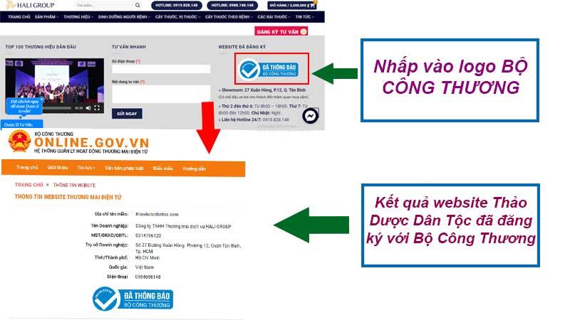 Website nào đã đăng ký với bộ công thương