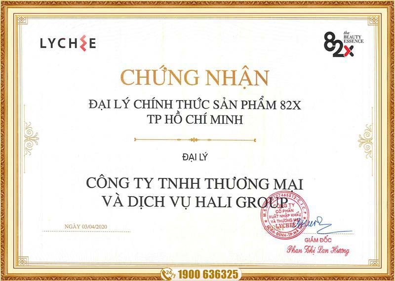 giấy chứng nhận đại lý phân phối collagen 82x của Hali Group